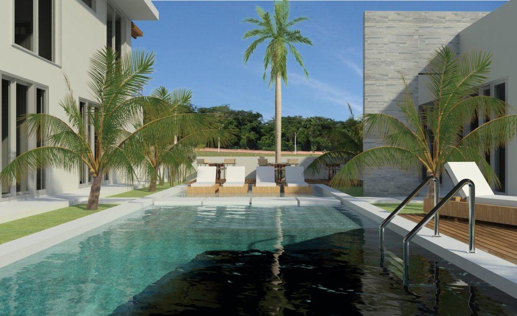 rechteckiger Pool mit Leiter und Liegestühlen am Rand